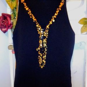 Cache' Black Rayon VNeck with gold sequin trim